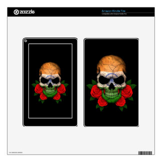 Indian Flag Skull with Red Roses Kindle Fire Skin