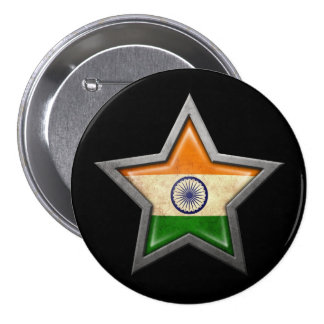 Indian Flag Star on Black Button