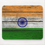 Indian Flag with Rough Wood Grain Effect Mouse Pads