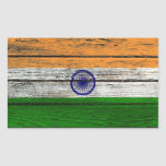 Indian Flag with Rough Wood Grain Effect Rectangle Stickers