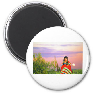 Indian Full Moon Sunset 2 Inch Round Magnet