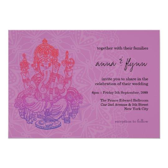 Ganesh Wedding Invitations: Indian Ganesh Purple Lilac Wedding Invitation