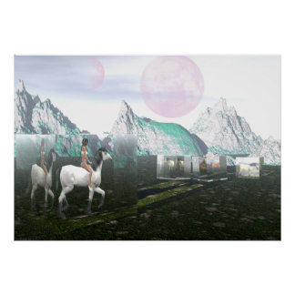Indian Girl and Horses in Crystal Boxes Poster