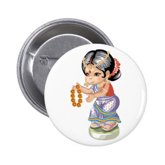Indian Girl Button Pinback Buttons