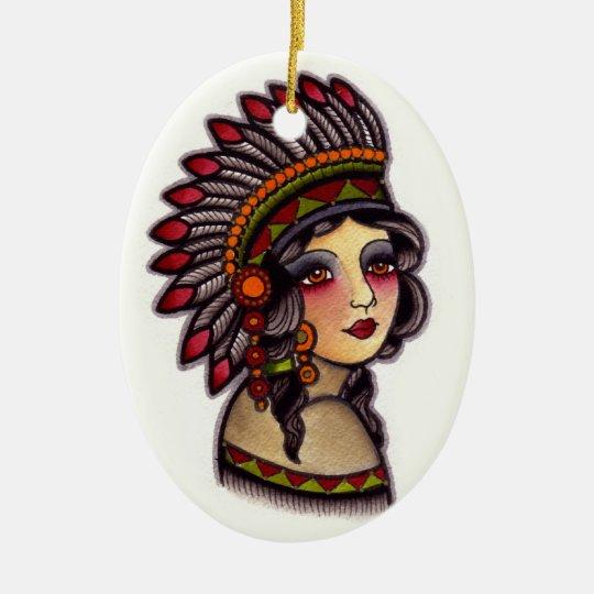 indian girl ceramic ornament