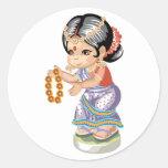 Indian Girl Sticker Round Sticker