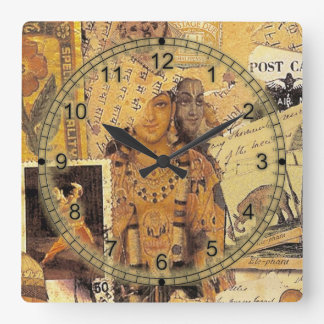 Indian Glories Square Wall Clock
