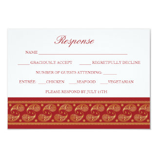 Indian Gold Pattern Modern Wedding RSVP Card