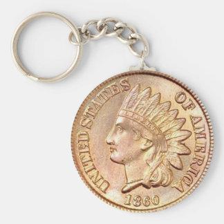 Indian Head Cent Basic Round Button Keychain