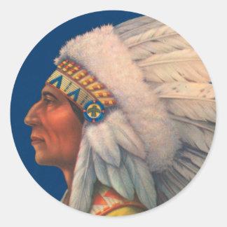 Indian Head Classic Round Sticker