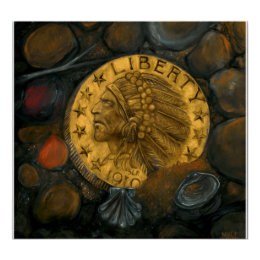Indian Head Gold $5 Half Eagle oil on gesso Poster
