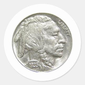 INDIAN HEAD NICKEL CLASSIC ROUND STICKER