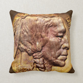 Indian Head Nickel Coin Vintage Western Style Art Throw Pillow