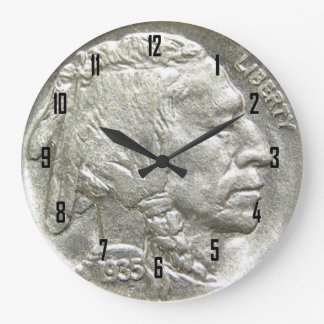 INDIAN HEAD NICKEL LARGE CLOCK