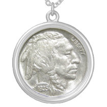 INDIAN HEAD NICKEL SILVER PLATED NECKLACE
