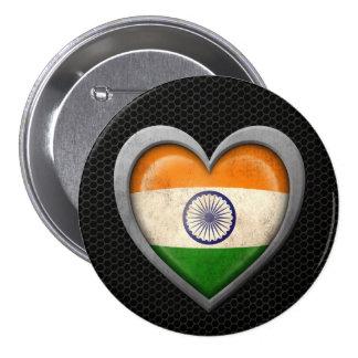 Indian Heart Flag Steel Mesh Effect Button