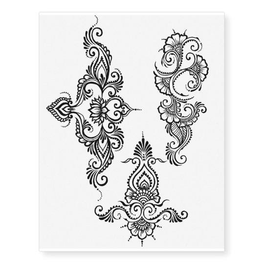 Temporary Henna Tattoo Designs: Indian Henna Design Temporary Tattoo Sheet