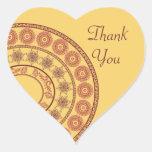 Indian Henna Thank You Heart Shaped Sticker