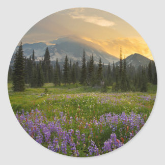 Indian Henry's Hunting Ground at sunrise Classic Round Sticker
