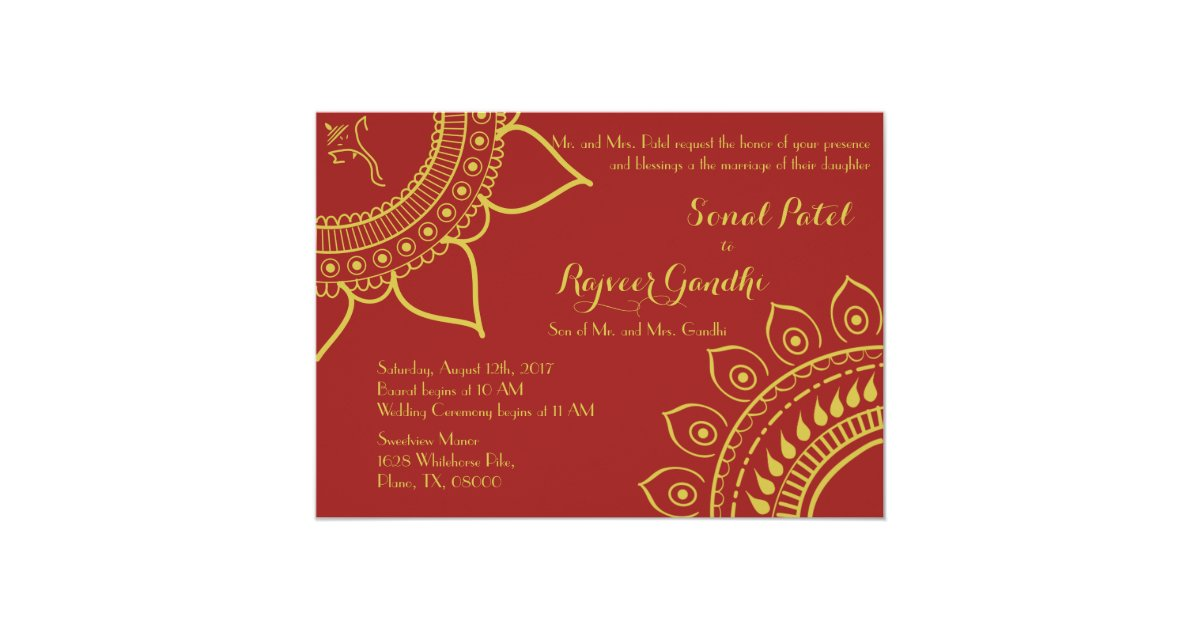 Mehndi Party Invites : Indian hindu ganesh wedding invite garba mehndi zazzle.com