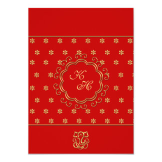 Indian Influenced Wedding Reception in Red & Gold 4.5x6.25 Paper Invitation Card