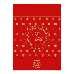 Indian Influenced Wedding Reception in Red & Gold Card