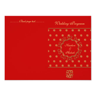 Indian Inspired Bi-fold Wedding Program Red & Gold Card
