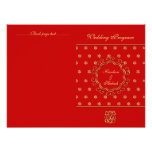 Indian Inspired Bi-fold Wedding Program Red & Gold Announcements