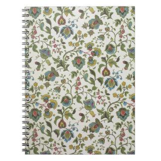 Indian-inspired, floral design wallpaper, 1965-75 spiral notebook