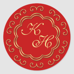 Indian Inspired Monogram Stickers in Red & 'Gold'