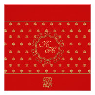 Indian Inspired Wedding Invitation in Red & Gold