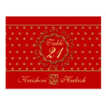 Indian Inspired Wedding Table Number Postcard
