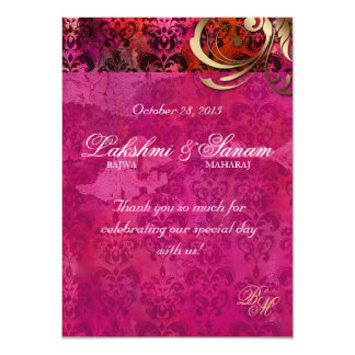 Indian Invite Photo Card Damask Pink Gold