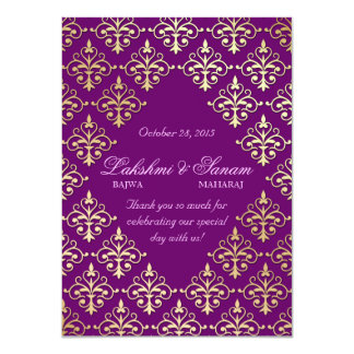 Indian Invite Photo Card Damask Purple Gold