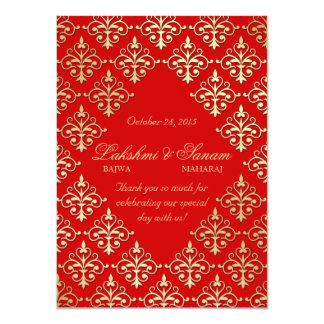 Indian Invite Photo Card Damask Red Gold