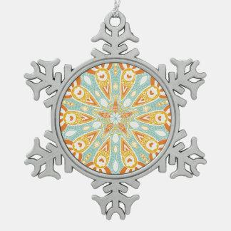 Indian Kaleidoscope Art Snowflake Pewter Christmas Ornament