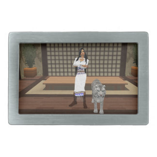 Indian Lady And White Tiger Belt Buckle