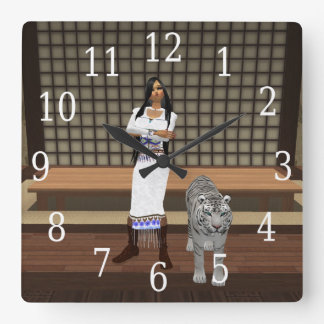 Indian Lady And White Tiger Clock