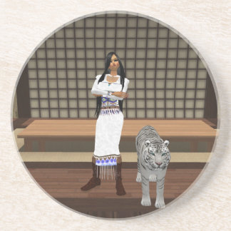 Indian Lady And White Tiger Coaster
