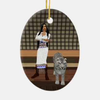 Indian Lady And White Tiger Oval Ornament