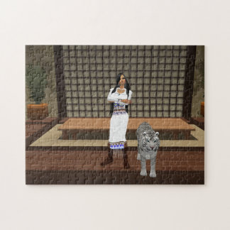 Indian Lady And White Tiger Puzzle