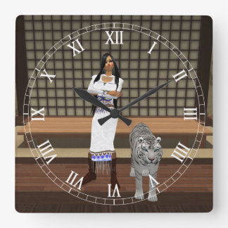 Indian Lady And White Tiger Roman Numeral Clock