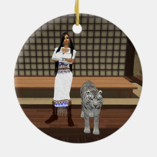 Indian Lady And White Tiger Round Ornament