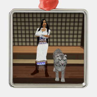 Indian Lady And White Tiger Square Ornament