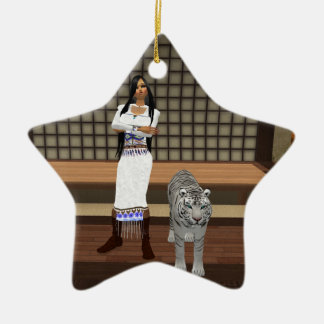 Indian Lady And White Tiger Star Ornament