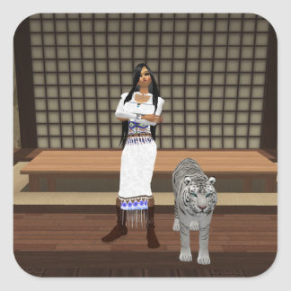 Indian Lady And White Tiger Stickers