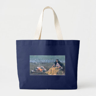 INDIAN MAIDEN & CAMPFIRE by SHARON SHARPE Large Tote Bag