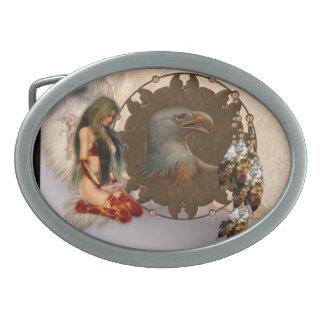 Indian Maiden Eagle Mandala Belt Buck Oval Belt Buckle