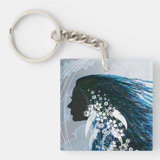 Indian Maiden Silhouette Keychain