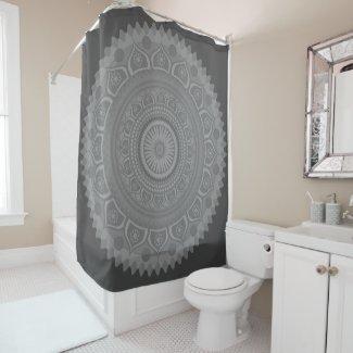 Indian mandala Blue in Grey Shower Curtain